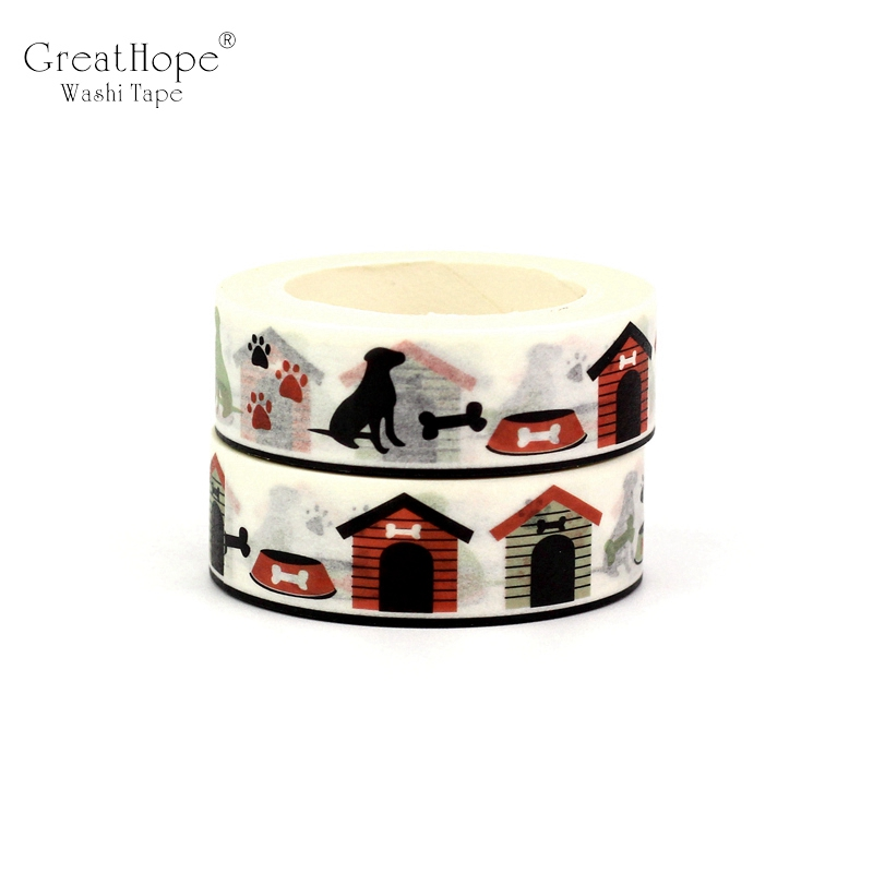 2PCS/lot NEW Cute Dog House Decor Washi Tape Paper DIY Planner Scrapbooking Adhesive Tapes 1.5cm*10m School Office Supply