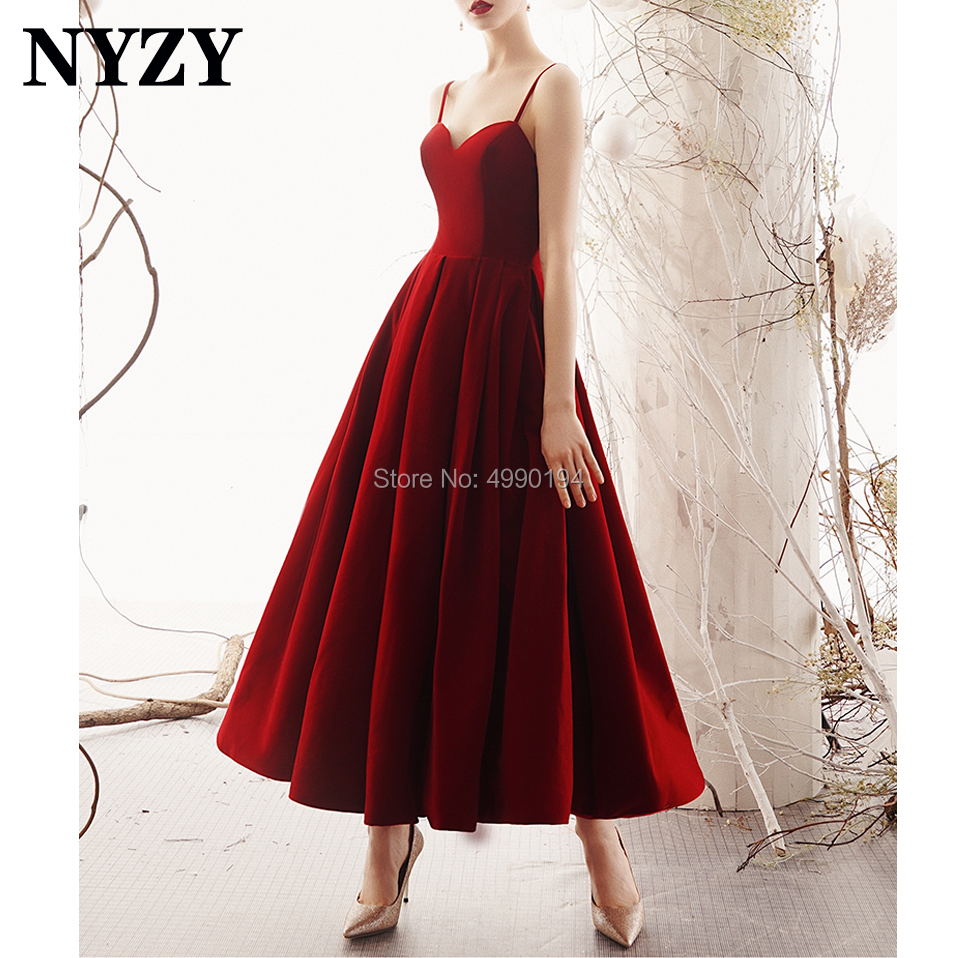 Robe De Cocktail Pour Mariage NYZY C166 Vintage 50s 60s Tea Length Backless Velvet Red Evening Dress Party Gown