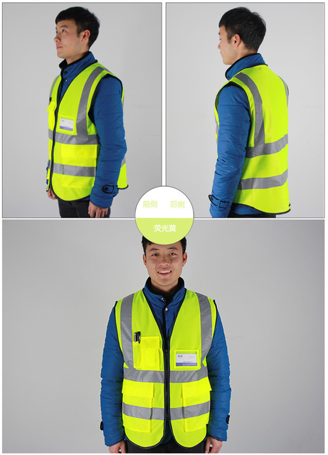 YUANMINGSHI Car Motorcycle Reflective Safety Clothing High Visibility Safety Vest Warning Coat Reflect Stripes Tops Jacket 4