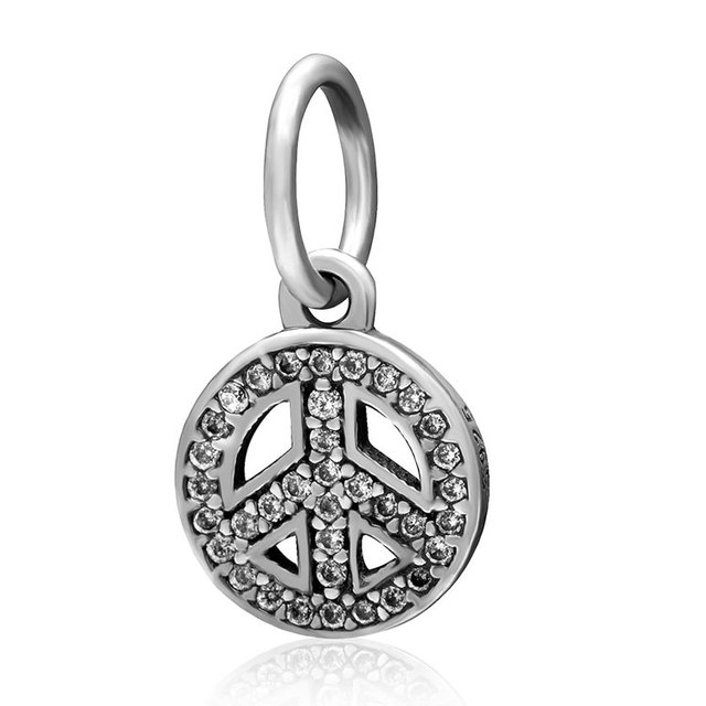 925 Sterling Silver Clear Cz Pave Symbol Of Peace Charm Peace Sign