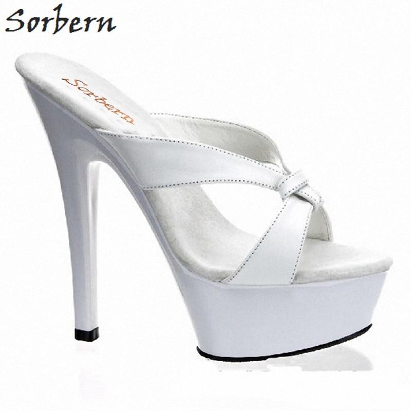 Sandalias Ouvert 11 Slip Pour sur Bout Pantoufles Designer Femmes Dames Chaussures D'été Sorbern Blanc Talons Taille pqnHO