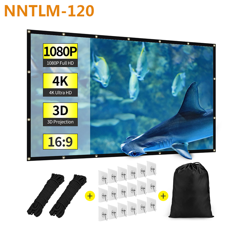 """Projector Screen 16:9 Foldable Anti-crease Portable,Double Sided Projection 120/"""""""