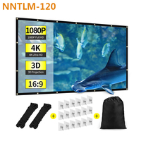 NNTLM 120 Projector Screen 120'' 16:9 FHD 4K Screen 265*149cm Foldable Anti crease Portable Projector Screen for Outdoor Party