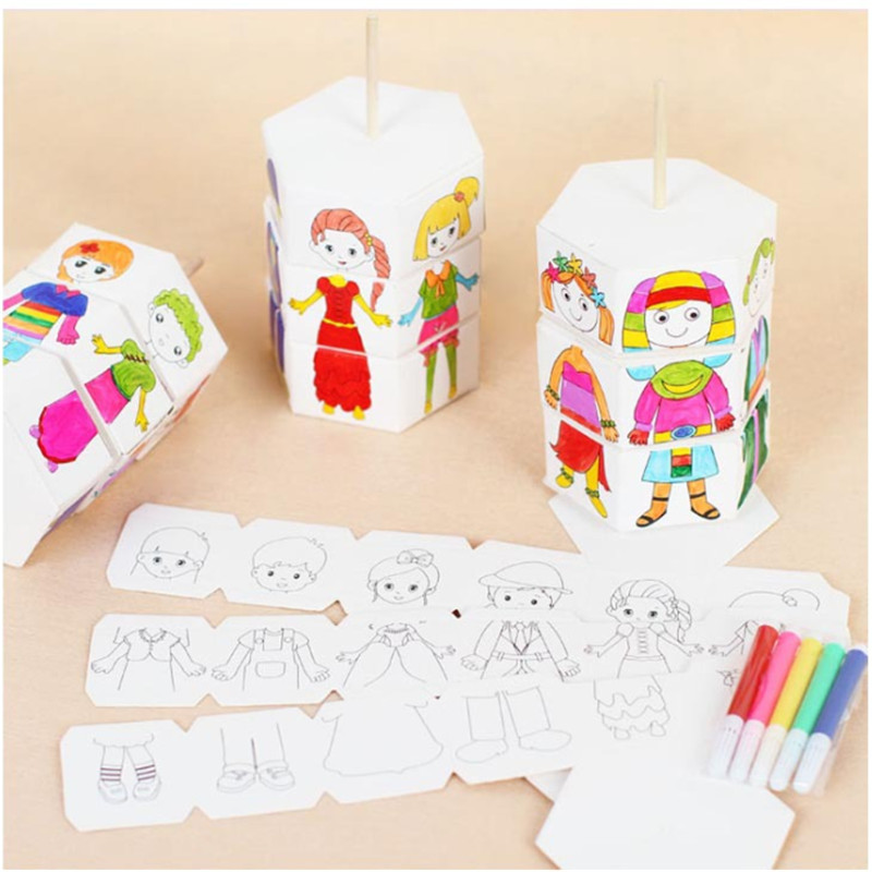 New Children Rotary DIY Paper Colour Matching Rotation Change Clothes Doll Creative Handcraft Puzzle Kindergarten Toys Best Gift