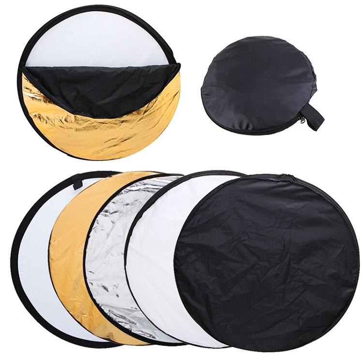 3 ensembles 43.3 pouces 110 cm 5 en 1 blanc argent or noir et souple disque photographie réflecteur Portable pliable lumière ronde