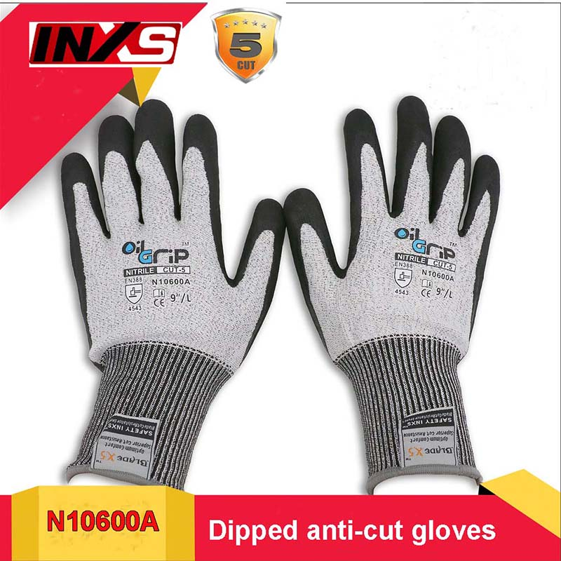 цены SAFETY INXS Level 5 Anti-cut gloves Oil resistance Wear-resistant flexible anti cut gloves Multipurpose Mechanical safety gloves в интернет-магазинах