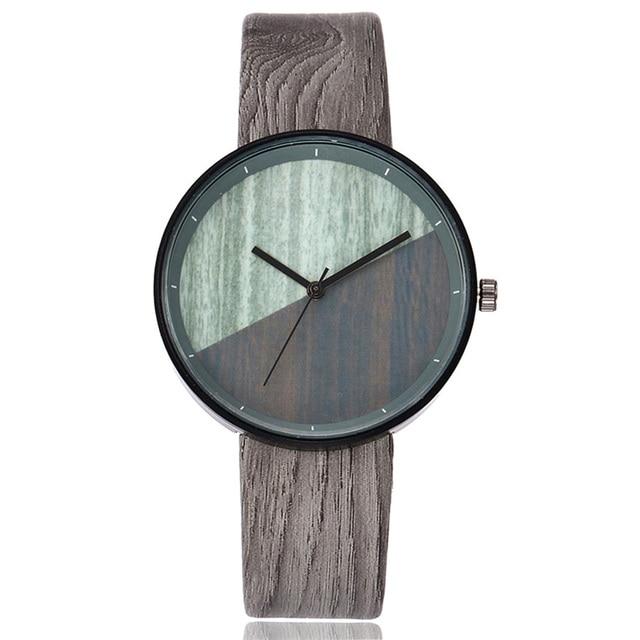 Women Wood Texture Watch Imitation Wooden Vintage Leather Quartz Watch LL@17