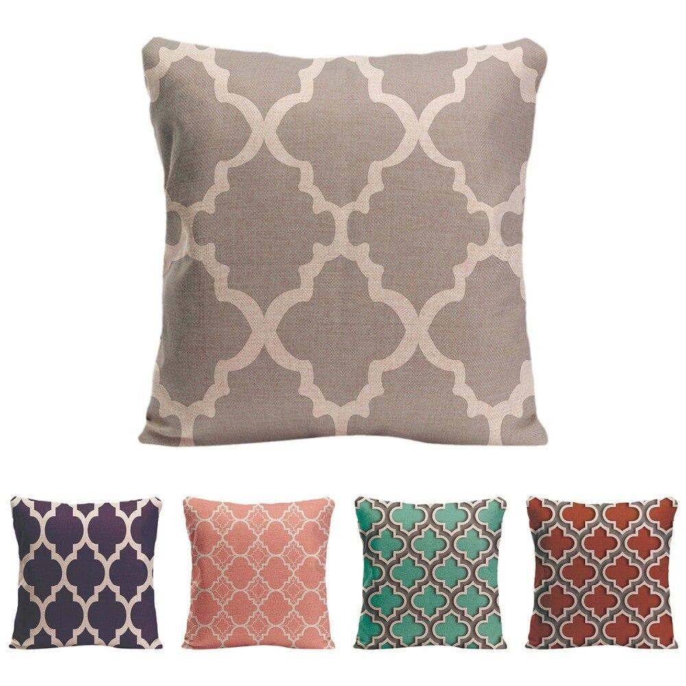 Geometric patterns Cushion Cover Decorative Pillow For Car Covers lattice Quatrefoil Pillow Case ...