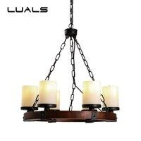 American Rural Style 6 Lamp Pendant Lights Loft Vintage Pendant Light Restaurant Coffee Shop Wrought Iron Art Deco Lighting