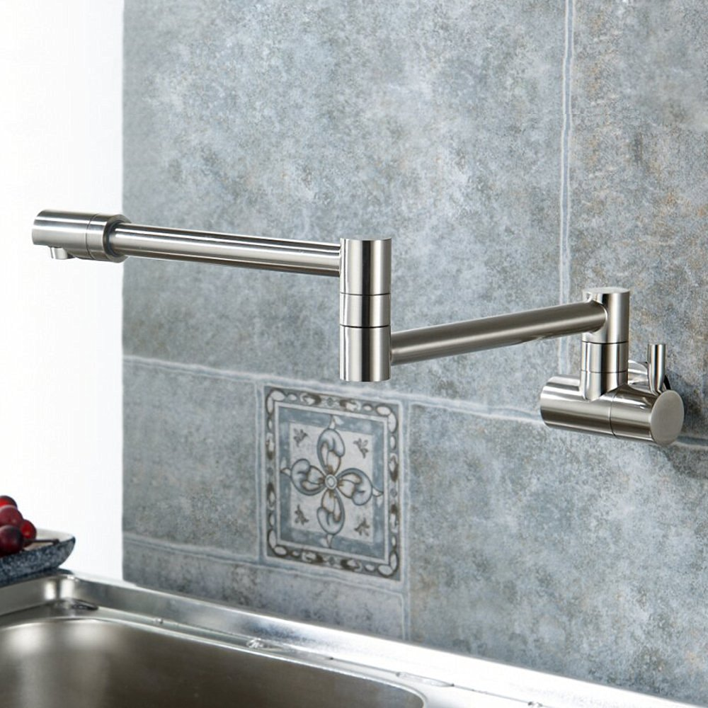 faucet with carbon polished kitchen sink from articulating of fiber arc fantastic nickel com high dulichdaiphong