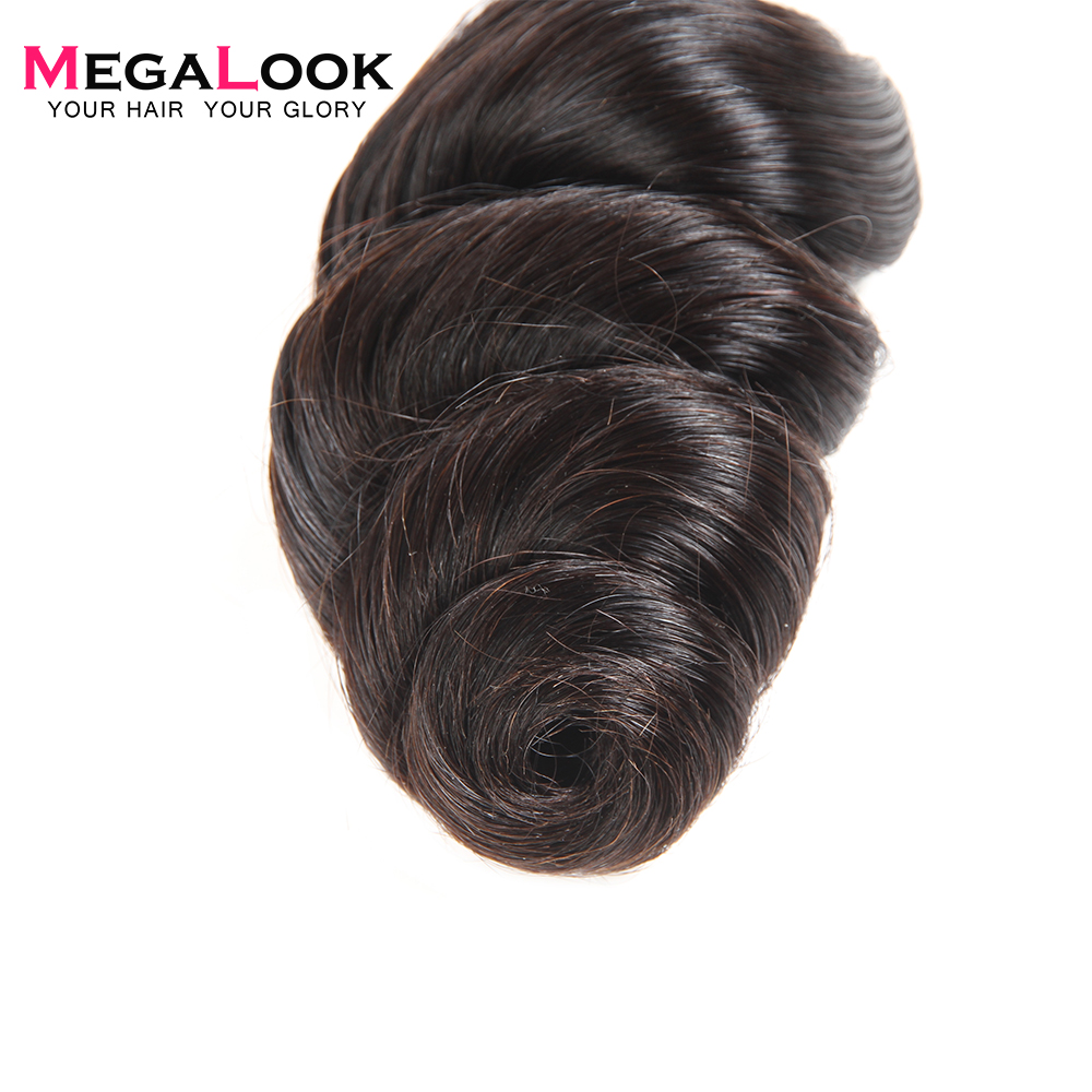 Megalook Loose Wave Human Hair Bundles 3pcs 8 36 inch Malaysian 100 Remy Hair Extension Natural