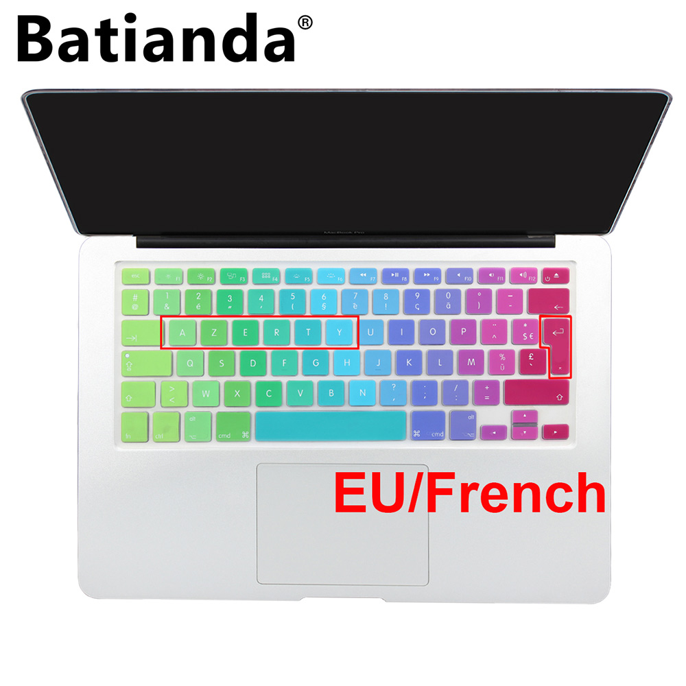 Batianda French AZERTY EU UK Keyboard Layout Silikon klaviatura örtüyü dəri Macbook hava pro 13 13 17 17 Retina İncə İncə