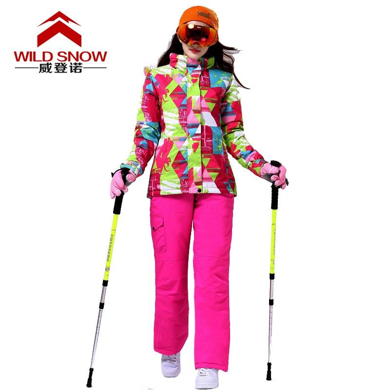 Outdoor Sports Ski Suit Women Windproof Waterproof Thermal Snowboard Snow Skiing Jacket Skiwear Ice Skating Clothes Set недорго, оригинальная цена