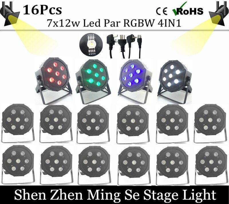 Fast shipping 1/lots 7x12w led Par lights RGBW 4in1 flat par dmx512 disco professional stage dj equipment