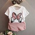 2016 Verano Impresión de La Mariposa Cottont camiseta + Shorts Del Bebé Sistema de la Muchacha Traje Ropa de Niños Ropa Para Niños Ropa