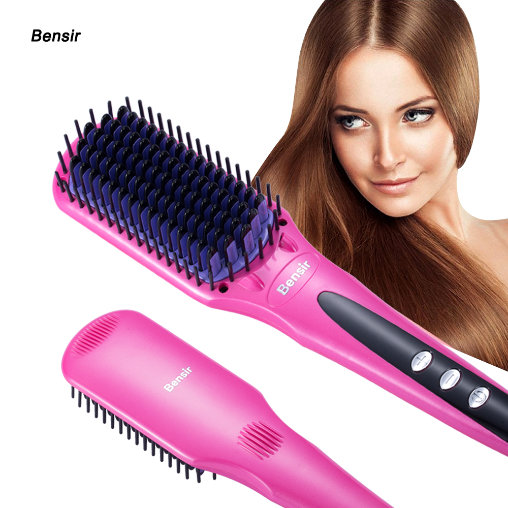 Portable Hair Straightener Brush Ceramic LCD Digital Electric Display Zero Damage Anti Scald Hair Care Hair Straightener Comb 5pcs 2017 new massage ultra thin led digital display lcd straightener electric splint mch fever
