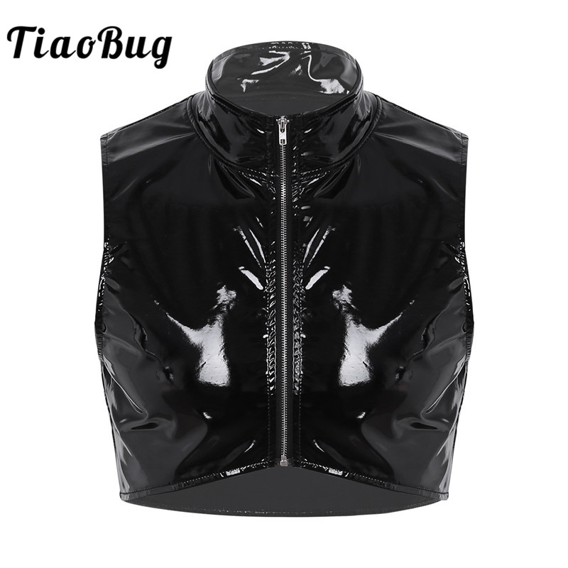 TiaoBug Men Cool Crop   Top   Fashion Wetlook Faux Leather Stand Collar Zipper Front Muscle Male Short Vest Nightclub Punk   Tank     Top