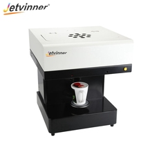 Jetvinner One-cup Coffee Printer Inkjet Print Machine with Edible Ink for Latte, Cake, Macarons, Beer, Flowers, Candy, etc.