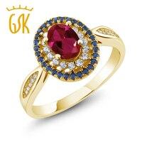 GemStoneKing 1,54 КТ овальной красный создания рубин 18 К Желтый Позолоченные Серебряные Винтаж кольцо для Для женщин