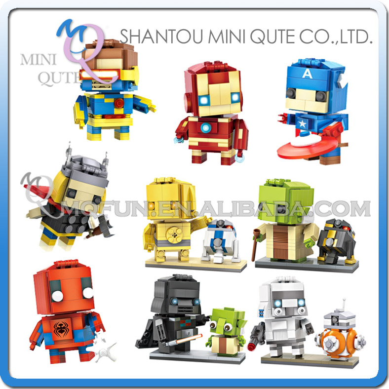 Mini Qute LOZ marvel avenger Captain America super hero star war R2D2 Yoda plastic building block brick model educational toy mini qute full set 2 pcs lot hc zootopia huge nick wilde judy hopps plastic building block cartoon model educational toy no 9011