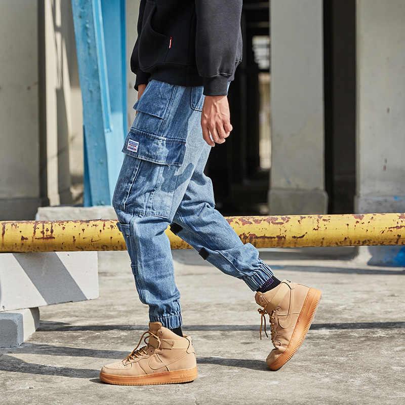Fashion Streetwear Men Jeans Retro Blue Loose Fit Denim Cargo Pants Big Pocket Harem Jeans Men Designer Hip Hop Joggers Jeans