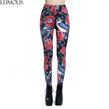 LEIMOLIS 3D printed rose eyeball bird Gothic harajuku sexy plus size high waist push up fitness workout leggings women pants