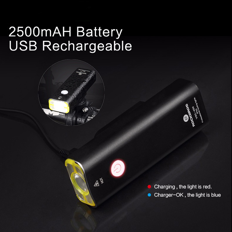 ROCKBROS Rechargeable Bicycle Light Cycling Riding Flashlight Waterproof Bike Headlight MTB Bicycle Front Lamp Bike Accessories