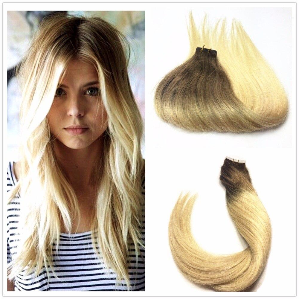8a Ombre Balayage Ash Blonde Brazilian Straight Hair Tape In Pu Skin