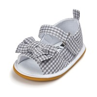 Dark Grey Baby Shoes Infant Toddler Newborn Pram Crib First Walkers Summer Striped Soft Rubber Soled