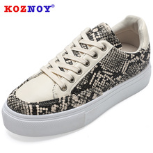 Koznoy Sneakers Women Summer Light Color Dropshipping Serpentine Matching Fashion Breathable Leisure Small White Shoes