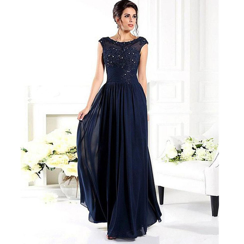 Navy Blue Mother of the Bride Dresses Under $100 Cap Sleeves ...