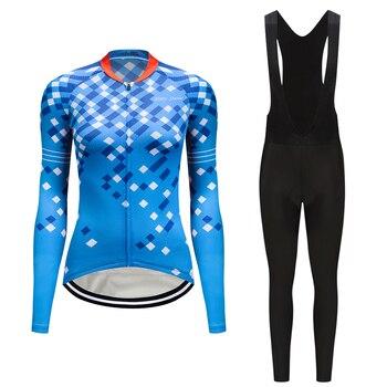 Outono mountain bike set roupas mulheres 2019 de manga Longa calças JARDINEIRAS bicicleta kit roupas vestido Pro camisa de ciclismo terno Do Esporte desgaste