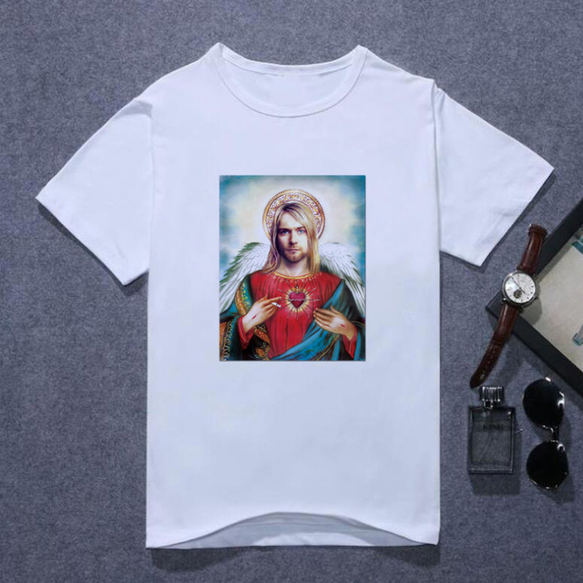 Nirvana Kurt Cobain Tshirt Men Harajuku Song Lyrics Framed Print Rock Sounds T Shirt Men's Summer Lothes Oversized T Shirt