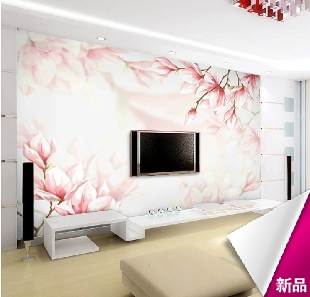 Custom Red Magnolia 3D Stereoscopic Television Background Wall Paper Wallpaper  Bedroom Large Living Room TV Wall