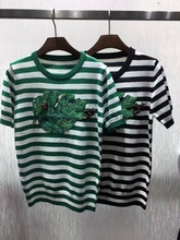 New brand design knitting shirt  2017 spring woman's green leaf embroidery strop T-shirt S-L size fashion tee