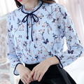 S-XXL Lady Chiffon Floral Light Blue Blouses Shirt Women Cute Shirt Long Sleeve Blouses