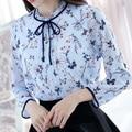 S-XXL Lady Chiffon Luz Azul Floral Blusas Mulheres Camisa Bonito Camisa de Manga Longa Blusas