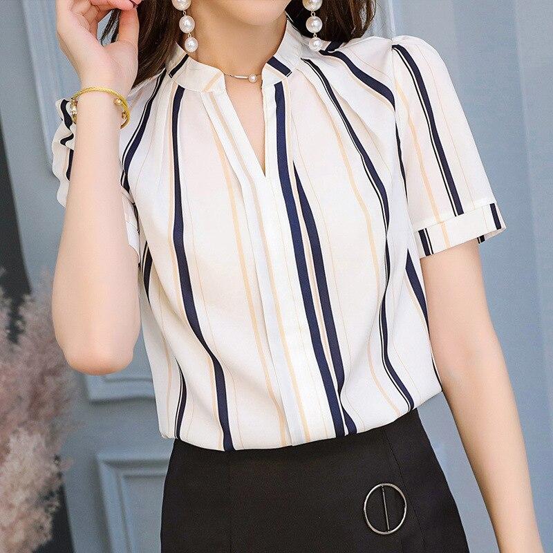 De Tendencia Coreano Verano Mujeres Tops Raya Gasa Corta Delgada Feminina Blusa Estilo Ocio Stripe Blusas Camisa Manga AxRRn