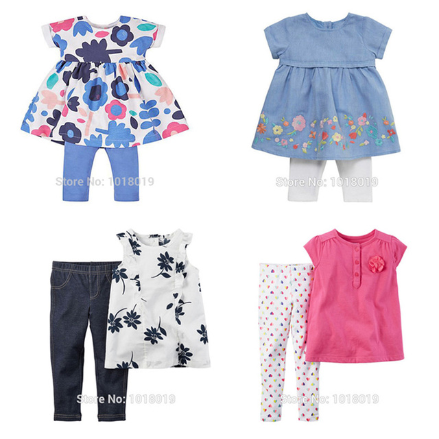 New 2017 Brand Quality 100% Cotton Baby Girls Clothing Summer 2pc Children Suit Clothes Set Short Sleeve Baby Girls Sets Outwear