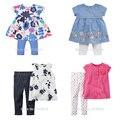 Nuevo 2017 de la Marca de Calidad 100% Algodón de los Bebés Ropa de Verano 2 unid Niños Traje Ropa Set de Manga Corta de los Bebés Fija Outwear