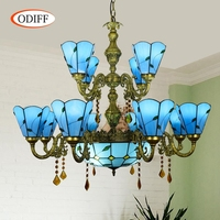 ODIFF European modern Mediterranean Blue Multi Crystal Pendant Lights Stained glass Hotel Villa bar 12 head Double deck Lighting