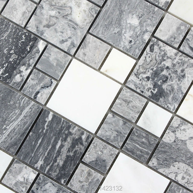 Stone Mosaic Tiles Grey Marble Tile Flooring Kitchen Backsplash