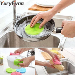 Image 2 - YuryFvna Silicone Dish Sponge Antibacterial Kitchen Scrubber Vegetable Fruit Brush Cleaning Sponge Dish Washing Brush Pot Holder