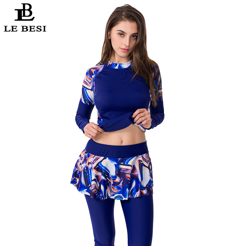 LEBESI 2019 New Two Piece Swimsuit For Women Sports Skirt Bathing Suit Plus Size Swimwear Long Sleeve Surf Suit