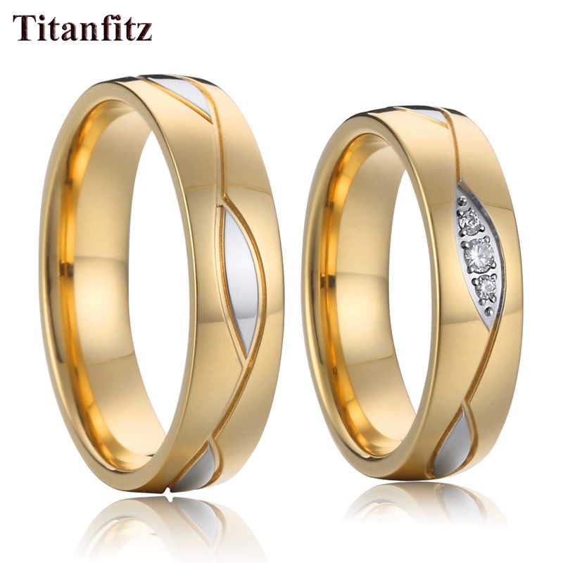 クラシック同盟愛の女性婚約カップル結婚指輪セット男性と女性女の子ゴールドステンレス鋼ジュエリー