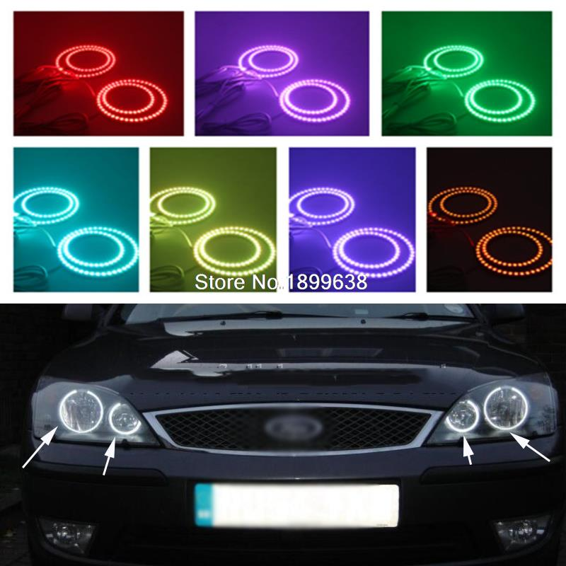 Super bright 7 color RGB LED Angel Eyes Kit with a remote control car styling For FORD Mondeo MK3 2001 2003 2004 2005 2006 2007 2pcs super bright rgb led headlight halo angel demon eyes kit with a remote control car styling for ford mustang 2010 2012