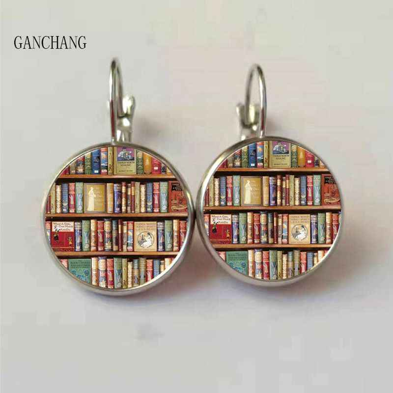 New retro books photo earrings books lovers earrings jewelry librarians gifts writers students teacher books nerd gifts