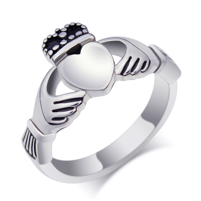 steel womens unisex item mens silver fashion love jenia tone claddagh bands irish titanium promise ring