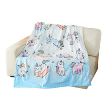 Очень мягкое фланелевое одеяло с мультяшным радужным котом kittycorn