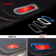 Tonlinker Interior Car Door Welcome light Cover sticker For Geely Atlas 2016-19 Styling 4 PCS Stainless steel Covers